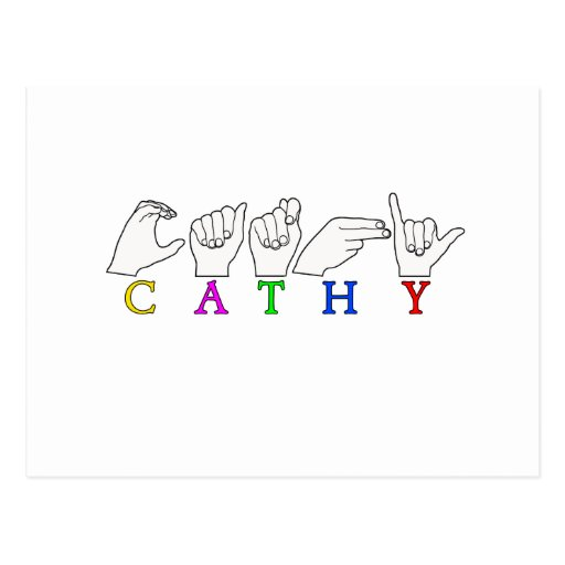 CATHY FINGERSPELLED ASL SIGN NAME POST CARD
