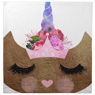 caticorn brown cat with crown, unicorn, kitty napkin