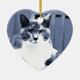 """Catitude"" Calico cat painting in blue hues Ceramic Heart Decoration"
