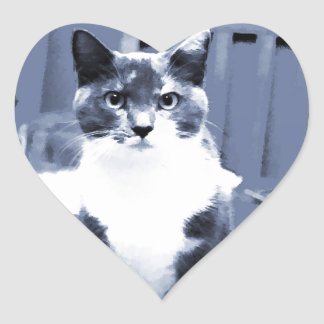 """Catitude"" Calico cat painting in blue hues Heart Sticker"