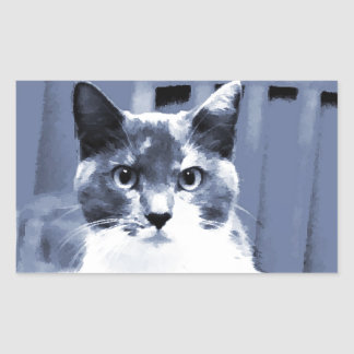 Catitude Calico cat painting in blue hues Rectangular Sticker