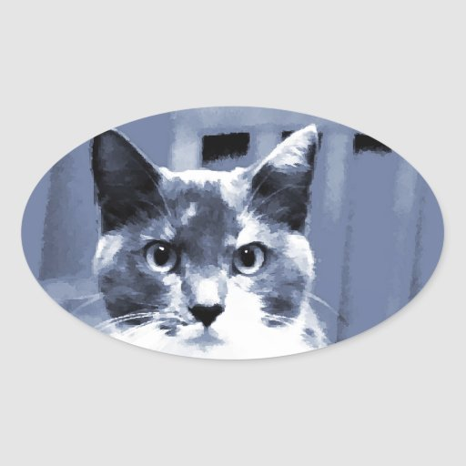 """""""Catitude"""" Calico cat painting in blue hues Oval Stickers"""
