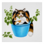 Catnip Chomping Calico Cat Poster