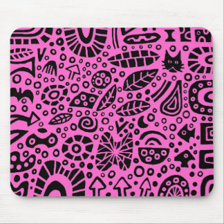 Catnip Dreams - Black on Pink FF66CC Mouse Mat