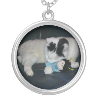 CATNIP TOY SILVER PLATED NECKLACE