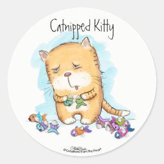 Catnipped Kitty Classic Round Sticker