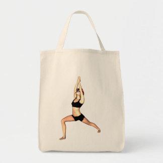 Catrina in Warrior I Pose - Tote Grocery Tote Bag