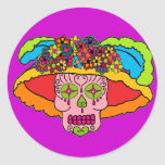 Catrina Sugar Skull Round Stickers