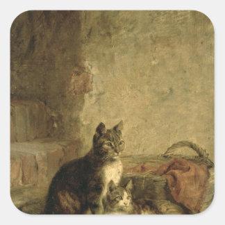 Cats, 1883 square sticker