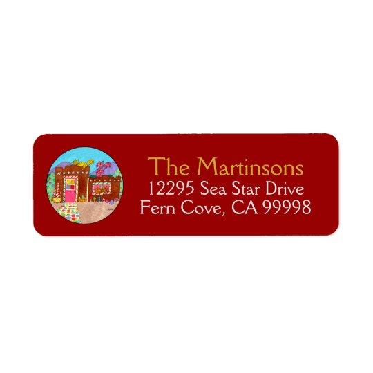 Cats & Adobe Gingerbread House Christmas Return Address Label