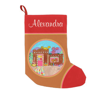 Cats & Adobe Gingerbread House Custom Christmas Small Christmas Stocking