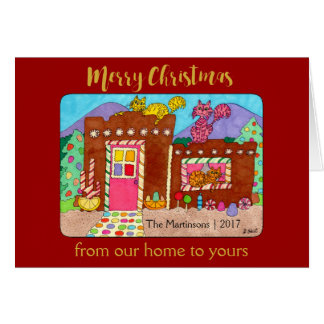 Cats & Adobe Gingerbread House Deluxe Christmas Card