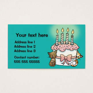 Cats and cake Birthday Business Card