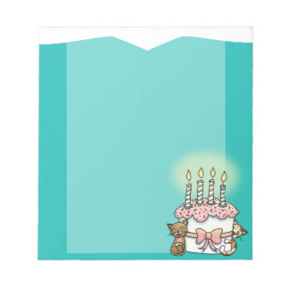 Cats and cake Birthday Notepad