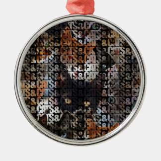 Cats and Cats and Round Metal Christmas Ornament