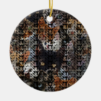 Cats and Cats and Double-Sided Ceramic Round Christmas Ornament