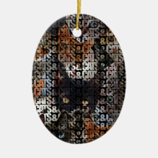 Cats and Cats and Double-Sided Oval Ceramic Christmas Ornament