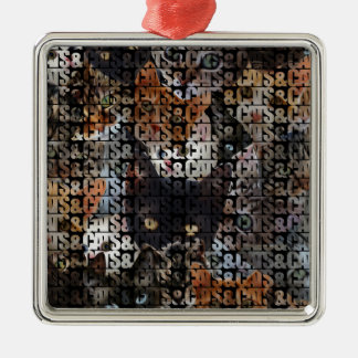 Cats and Cats and Square Metal Christmas Ornament