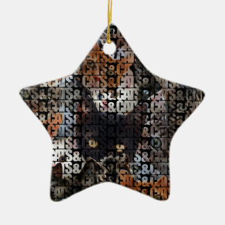 Cats and Cats and Double-Sided Star Ceramic Christmas Ornament