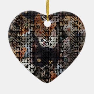 Cats and Cats and Double-Sided Heart Ceramic Christmas Ornament