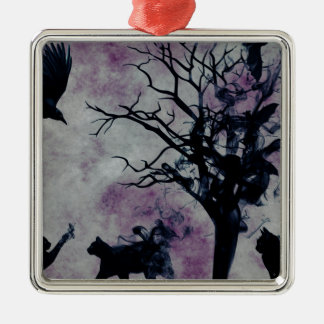 Cats and Crows Silver-Colored Square Decoration