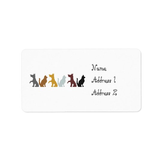 Cats and Dogs cartoon pattern Label