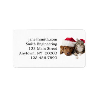 Cats and dogs - Christmas cat - christmas dog Label