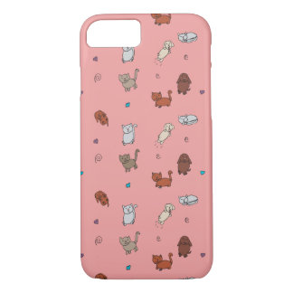 Cats and Dogs Drawing iPhone 7 Case