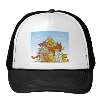cats and dogs mesh hat
