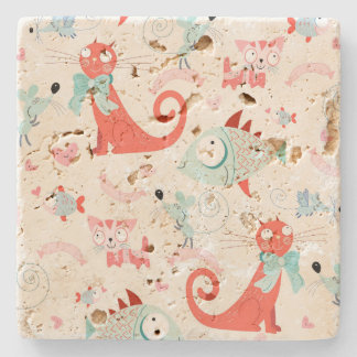Cats and Fishes Stone Coaster