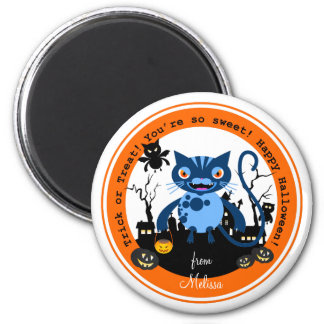 Cats and Halloween night 6 Cm Round Magnet