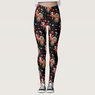 Cats and Kittens in UFOs spaceships flying saucers Leggings