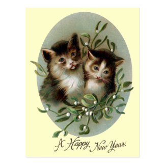 Cats and Mistletoe Vintage New Year Postcard