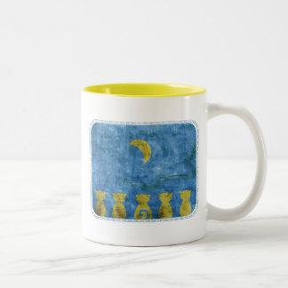 Cats and Moon two-tone mug