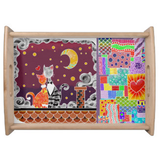 Cats and Patchwork Love Serving Tray