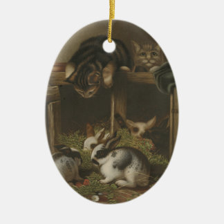 Cats and Rabbits Christmas Ornament