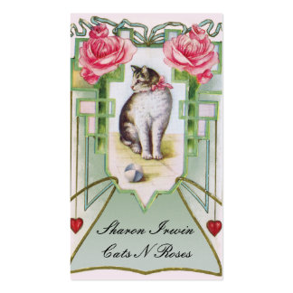 Cats and Roses Business Card Template