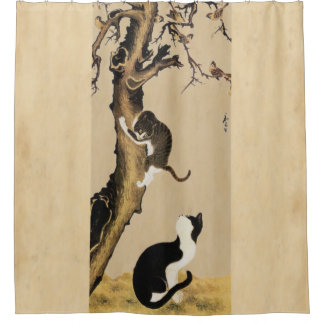 Cats and Sparrows Shower Curtain