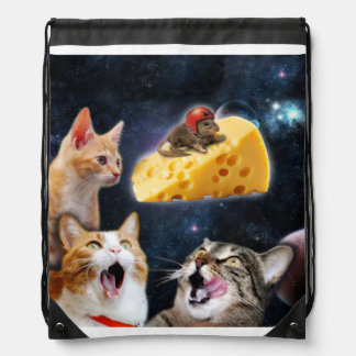 Cats and the mouse on the cheese drawstring bags