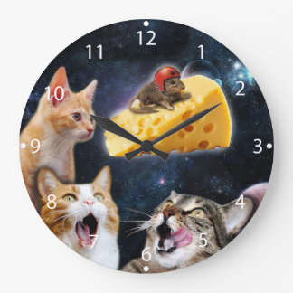 Cats and the mouse on the cheese large clock