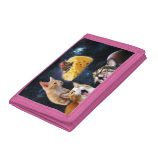 Cats and the mouse on the cheese tri-fold wallets