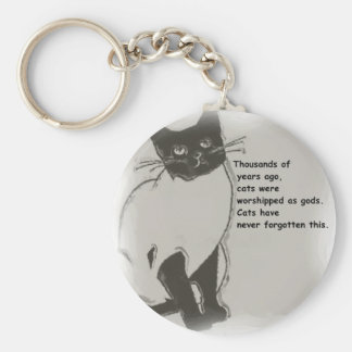 Cats are Gods Basic Round Button Key Ring