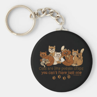 Cats are like potato chips basic round button key ring