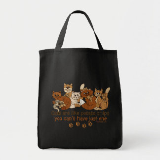 Cats are like potato chips Distressed Grocery Tote Bag