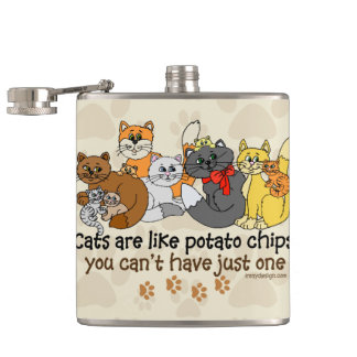 Cats are like potato chips hip flask