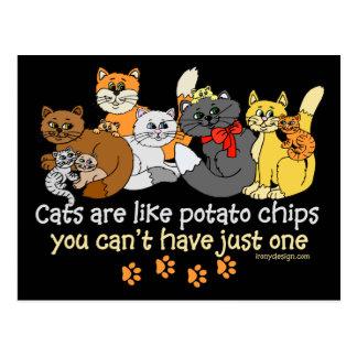 Cats are like potato chips postcard