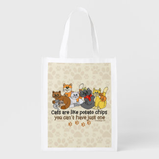 Cats are like potato chips reusable grocery bag