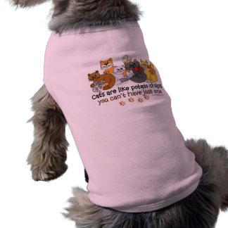 Cats are like potato chips sleeveless dog shirt