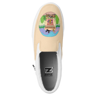 Cats at an Orange Adobe House Personalized Slip On Shoes