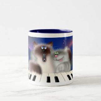 Cats At Piano Two-Tone Coffee Mug